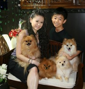 Sophine Giam with son and beloved Pomeranians